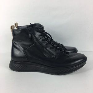 Ecco ST.1 M Black Leather Lace Up Zip High Top